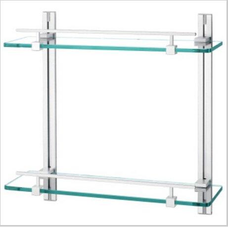 Contemporary Aluminium And  Glass Material Bathroom Shelf Chrome finish  1433