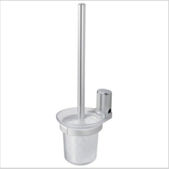 Contemporary Aluminium Toilet Brush Holder With Toilet Brush Cup Chrome Finish 424