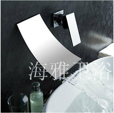 Waterfall Widespread Contemporary Bathroom Sink Faucet (Chrome Finish) 1022