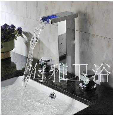 Chrome Finish Two Handles Color Changing LED Waterfall Widespread Bathroom Sink Faucet HL1008