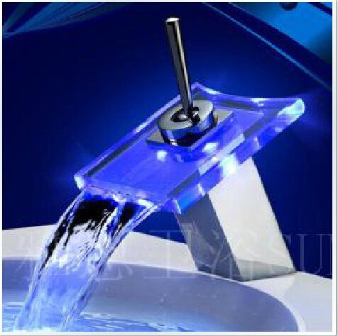 Color Changing LED Waterfall Bathroom Sink Faucet (Glass Spout)--H310894