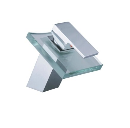 Glass Waterfall Bathroom Sink Faucet (Glass Spout)--S1008CW