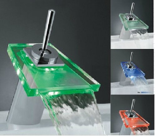 Color Changing LED Waterfall Bathroom Sink Faucet (Glass Spout)--S1015CM