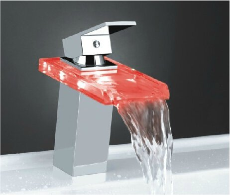 Color Changing LED Waterfall Bathroom Sink Faucet (Glass Spout)--H31097