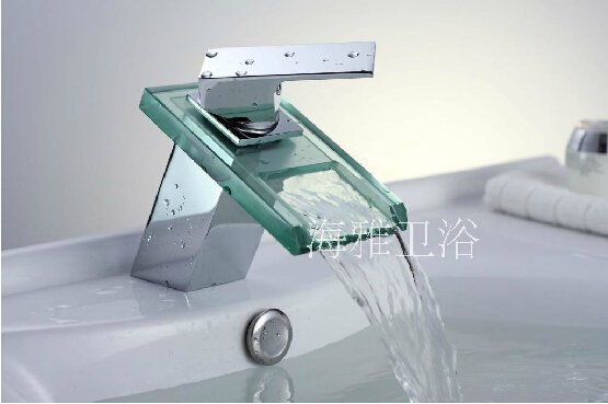 Glass Waterfall Bathroom Sink Faucet (Glass Spout)---S1025CW