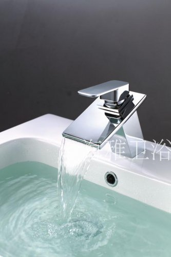 NEW*Contemporary Chrome Finish Waterfall Stainless Steel Basin Faucet 1244