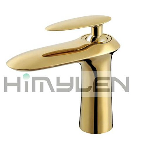 Solid Brass Single Handle Contemporary Ti-PVD Finish Bathroom Sink Faucet---111022