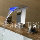 LED Contemporary Chrome Three Hole Two Handle Bathroom Sink Faucet--H1006D-1