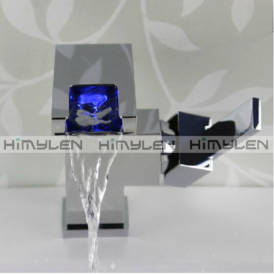 Color Changing LED Waterfall Bathroom Sink Faucet --000416