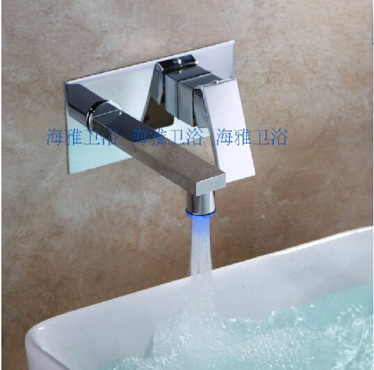 Chrome Finish Color Changing LED Waterfall Wall Mount Bathroom Sink Faucet---HG1108