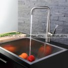Contemporary Nickel Brushed One Hole Single Handle Brass Kitchen Faucet--000027