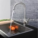 Contemporary Nickel Brushed One Hole Single Handle Brass Kitchen Faucet--000029