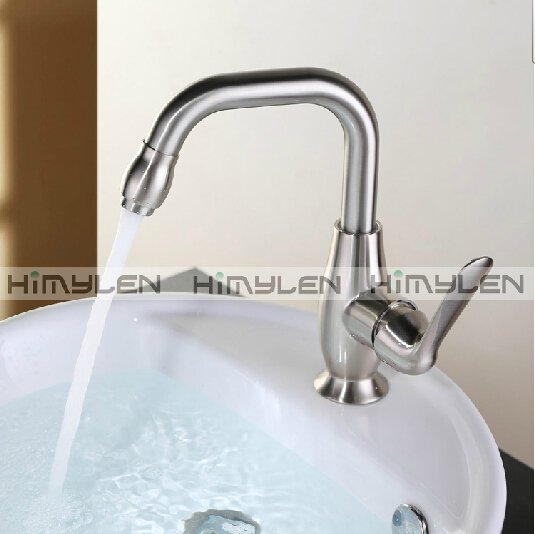 Contemporary Nickel Brushed One Hole Single Handle Brass Kitchen Faucet--000035