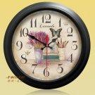 "15""H Retro Flower Style Metal Wall Clock - YGMW(BOLI001XYCB)"