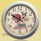 "15""H Retro Flower Style Metal Wall Clock - YGMW(BOLI001XYCW)"