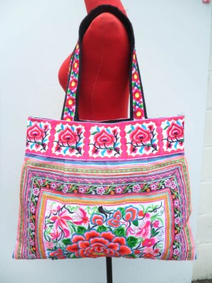 Hmong Embroidered Fabric Floral  Bag