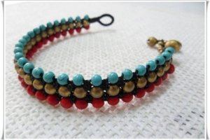 Triple Turquoise Coral Bracelet