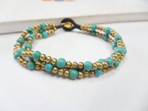 Round Turquoise brass Chain Bracelet