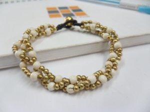 Round  Howlite  brass Chain Bracelet