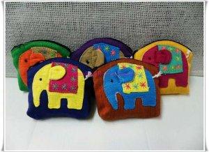 Set of 5 Cotton Elephant Purse