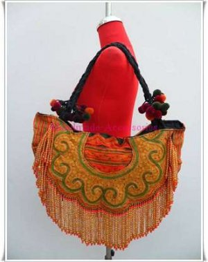 Fabric Colored Beads Bag