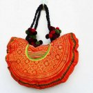 Semicircle Hand Embroidered Hmong Fabric  Bag