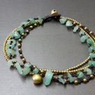 Jade  Brass Bead Anklet