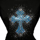 Blue Cross Rhinestone Crystal Shirt