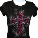 Zebra Hot Pink Cross Rhinestone Crystal Shirt