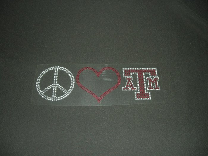 Peace Love & Texas A & M Crystal Rhinestone Shirt