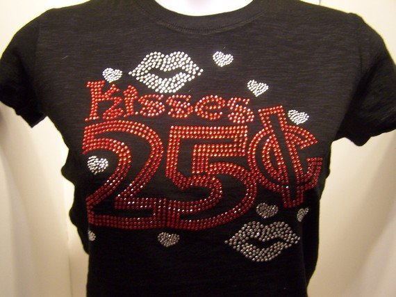 Valentine Kisses 25 cents Crystal Rhinestone Shirt