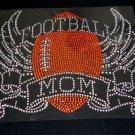 Huge Football Mom with Wings Crystal Rhinestone Shirt