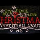 Peace Love and Christmas Rhinestone Shirt Size S-XXL