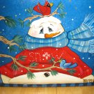 Hand painted Snowman Glass Block Night light