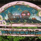Tea Time Welcome Handcrafted & Handpainted Welcome Plaque