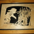 Little Boy Distracted Fishing-Handcrafted Scroll Saw Fret Work