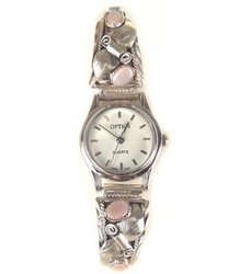 native america pink shadow dial sterling silver watch!