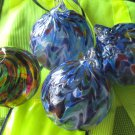 Handmade Blown  Glass Xmas Tree Balls lot of 4 4.25""