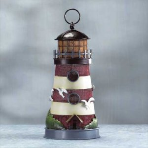 Painted Metal Lighthouse Lamp #32256