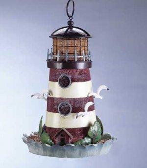 Painted Metal Lighthouse Birdfeeder #33808