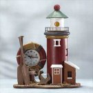 Wood Lighthouse Light And Clock #33738