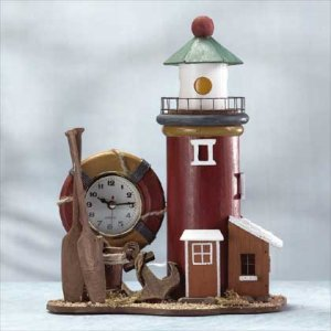 Wood Lighthouse Light And Clock #33738