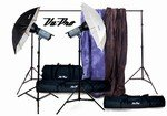 Vu-Pro Complete Pro Package #3 Photo Lighting, Backdrops, Backdrop Stand, Digital Backdrops Kit