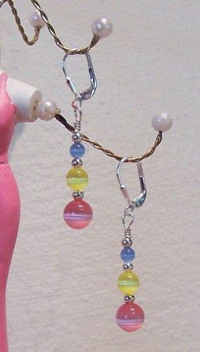 Handmade Sterling Silver Tropical Cateye Earrings Jewelry