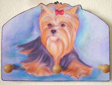 Yorshire terrier Yorkie Puppy Dog art wood leash key holder