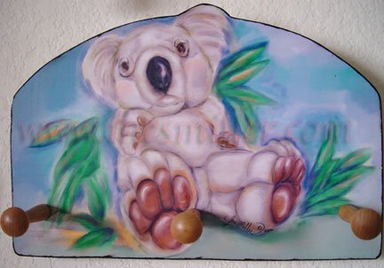 Koala baby art wood key peg rack holder handcrafted Gift original art design