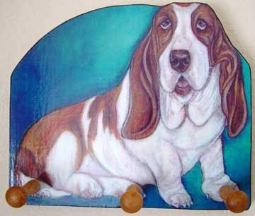 Basset Hound Dog Key  Leash Holder handmade WOOD leash holders