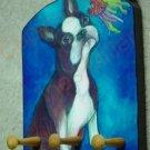 Boston Terrier dog portrait leash holder - rack key holder