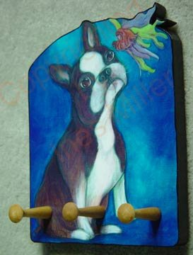 Boston Terrier dog portrait leash holder - rack key holder