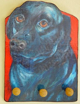 Black labrador RETRIVER Black lab dog Leash Key holder handmade wood  rack holder
